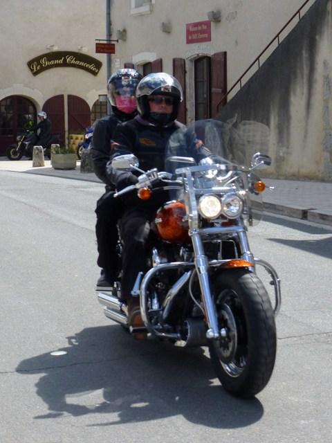 Kari & Malcolm on their Harley Fat Bob