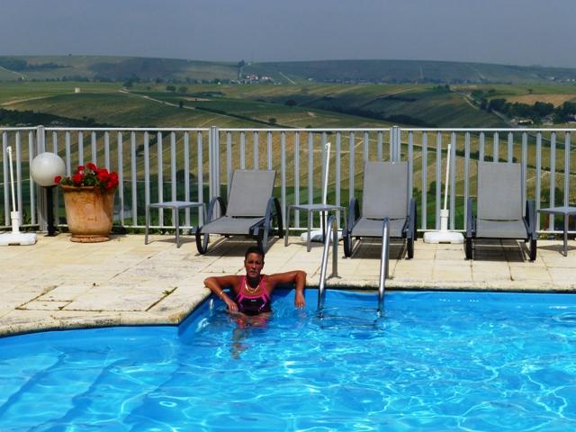Jen in the hotel pool