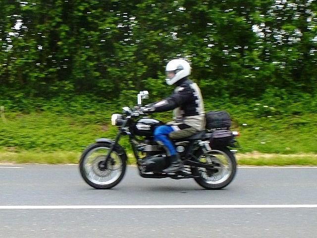 Alan D on his Triumph Bonneville Scrambler