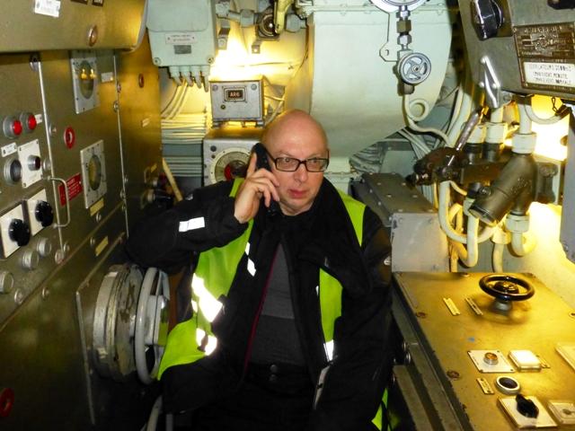 David C on board the submarine