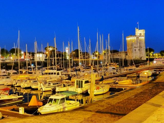 La Rochelle harbour by night