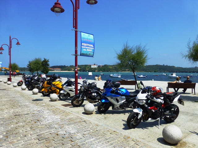 The bikes parked up at lunch