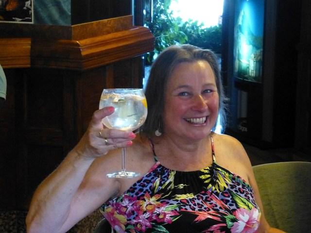 Sharron enjoys a huge Gin & Tonic