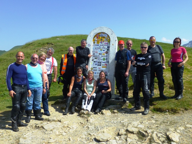 The Group on the Col D'Aubisque - missing Terry, Fran & Steve K