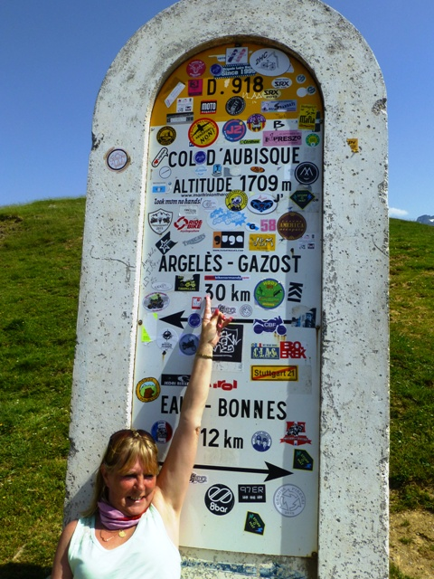 Kirsty points out the Bike Normandy sticker !