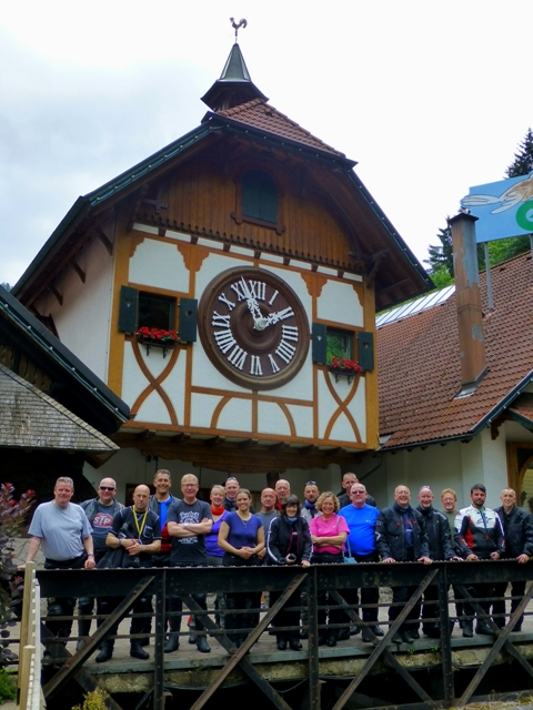 The Group at the cuckoo clock - where we see it strike 2 o'clock