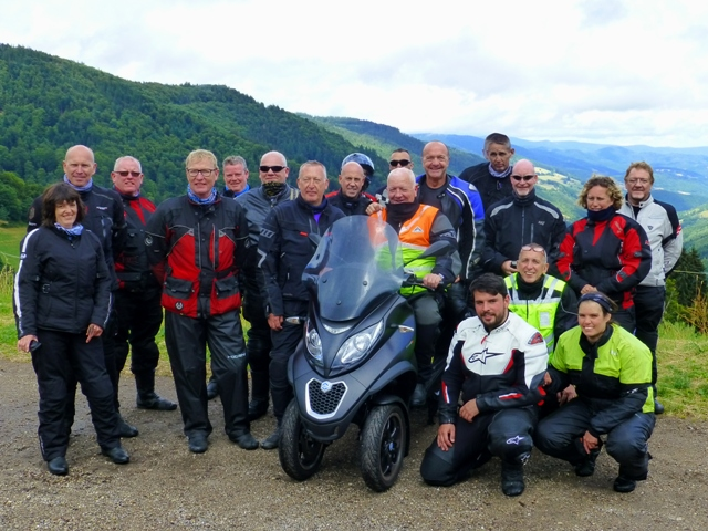 The Group in the Vosges with Andy's Piaggio centre stage