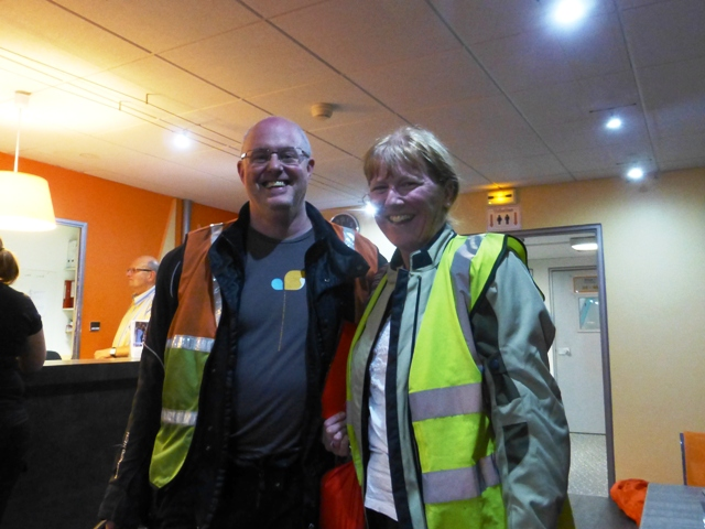 Thanks to Eurotunnel delays, Stuart & Lynne finally arrive!