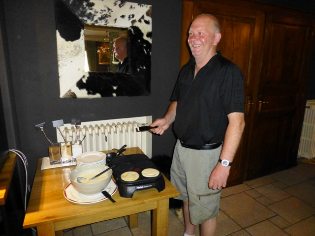 At breakfast Dave takes orders for pancakes !