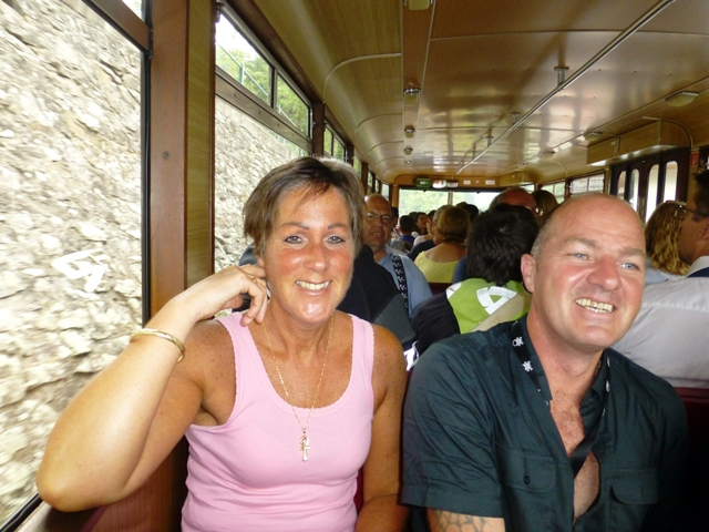 Jen & Steve in the rack railway train