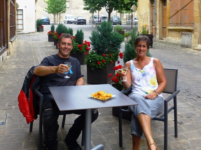 Drinks outside our hotel in France