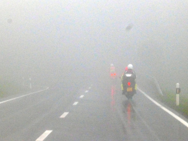 Poor visibility as we tackle hairpins