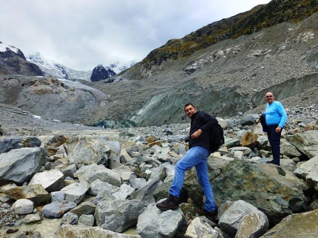 We climb over rocks