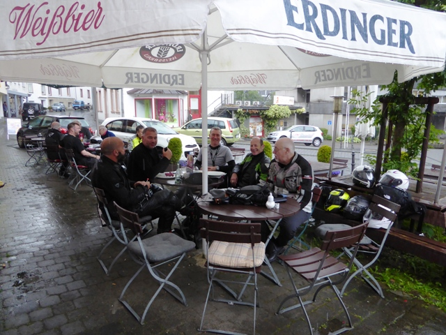 At lunch we shelter from the rain!