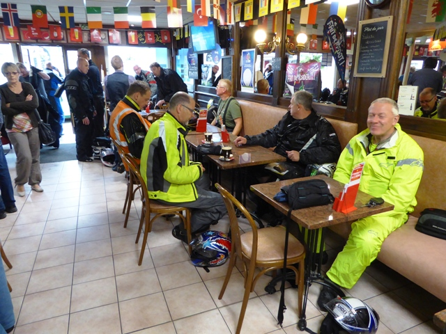 Waterproofs on at coffee stop