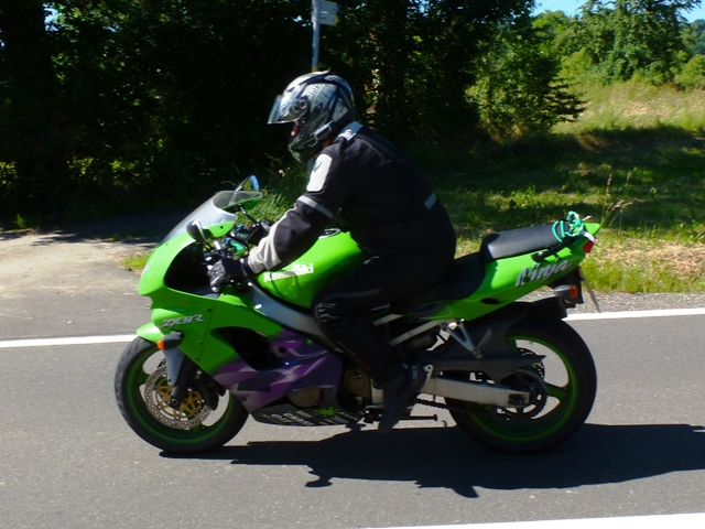 Liam on his Kawasaki ZX9R