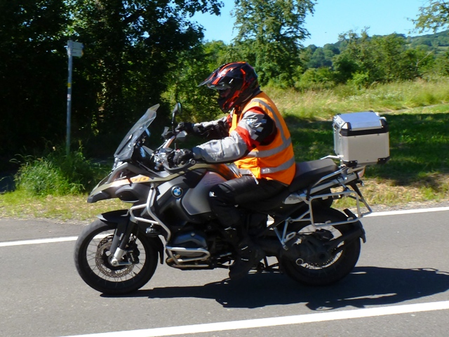 Garry as back-marker on his BMW R1200 GSA