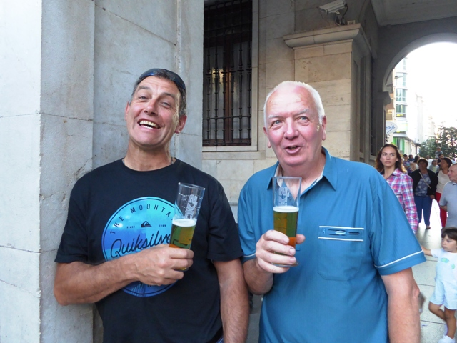 John & Andy Wilson with beers in the square