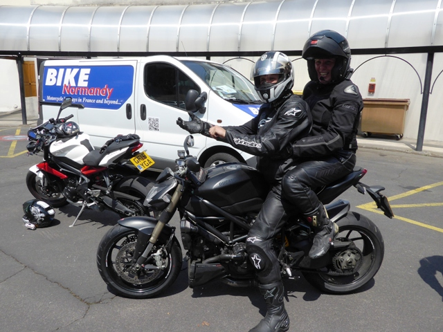 We then go for a ride-out - Shirley on the back of James' Ducati Streetfighter 848