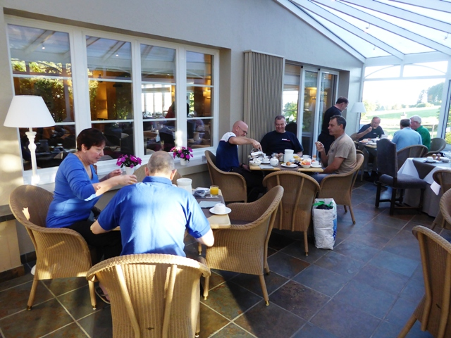 Breakfast is in the conservatory
