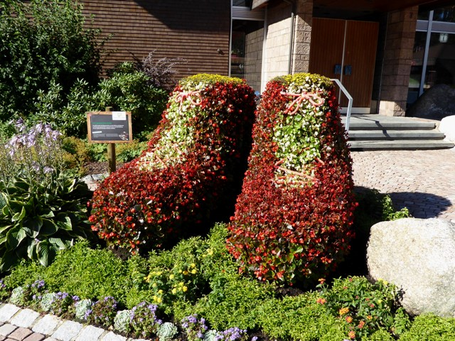 Flower displays everywhere in the town
