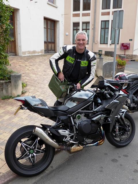 Riding a Kawasaki H2 Dave needs to refuel