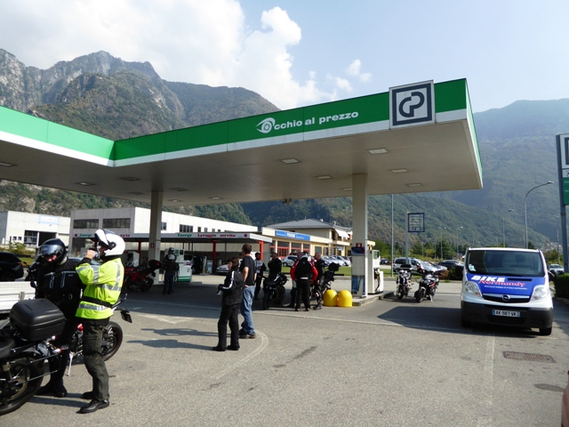 We stop for fuel before heading to Switzerland