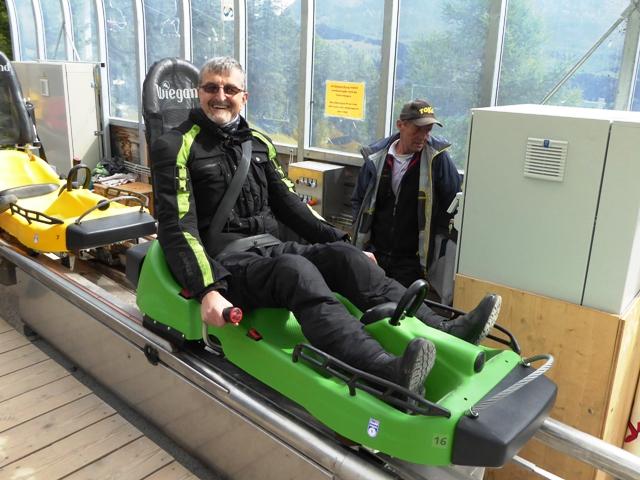 Steve in a Kawasaki green toboggan