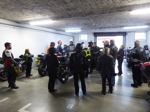 Morning briefing in the hotel garage