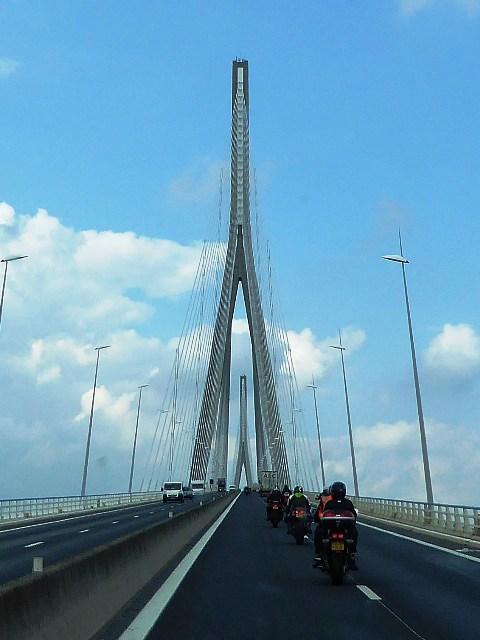 We ride over the Pont de Normandie