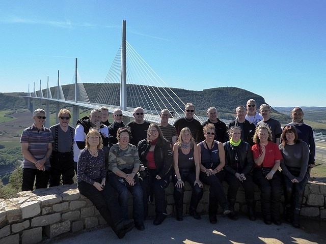 The Group at the Millau Bridge - a great end to the road riding season with 9 days of sunshine and a fab bunch of guests.