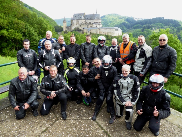 The Group mostly from Oakley Motorcycle Club  with Viandan Castle in the background.