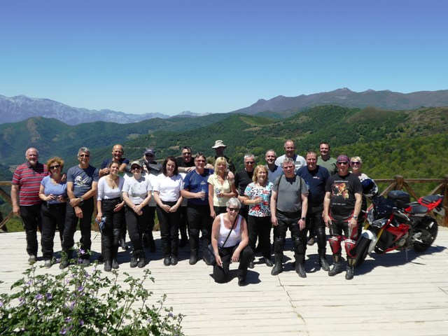 The group at the viewing area as we head into the Picos mountains