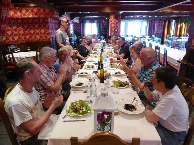"Our last dinner together - John tanks everyone for a great tour and especially Alice for doing a great job as ""back-marker"""