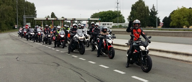 We always re-group before & after any motorway. Jen leading on our Street Triple.