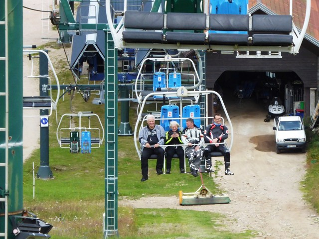 We take the ski-lift up...