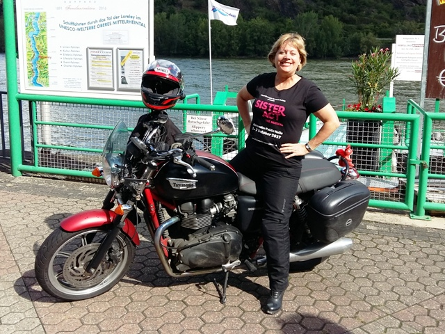 Wendy on her Bonneville