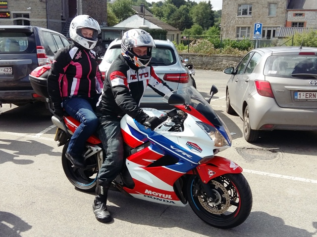 Amy & Chris on their Honda VFR