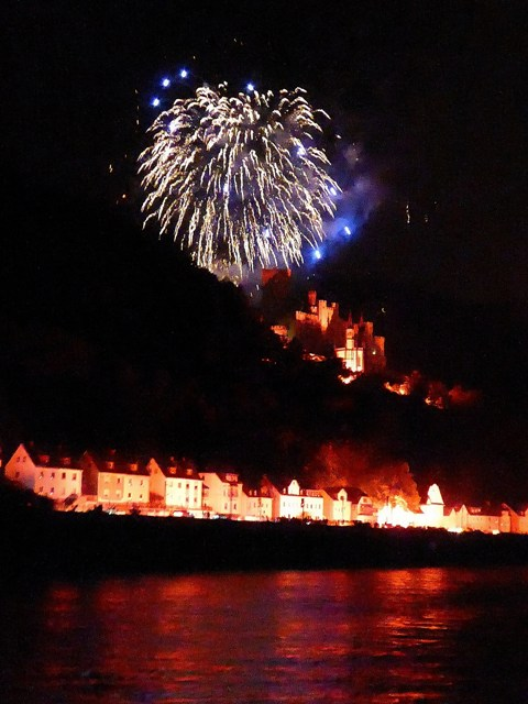 The towns are lit up along the Rhine
