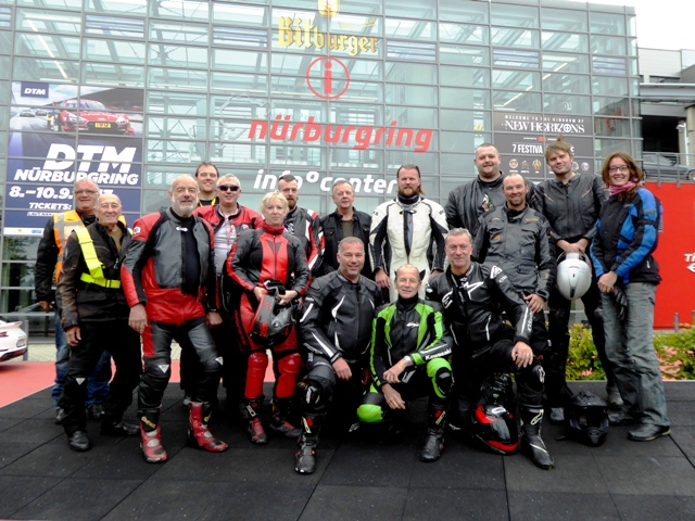 The group at the Nurburgring - if you want great roads to ride then this is the tour for you!