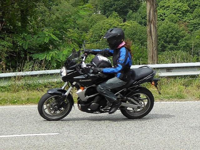 Christina on her Kawasaki Versys 650