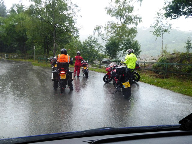 Most stop to don waterproofs