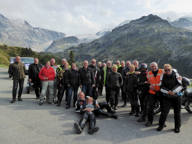 The group in the Susten Pass (with an unwell Sue in the van)