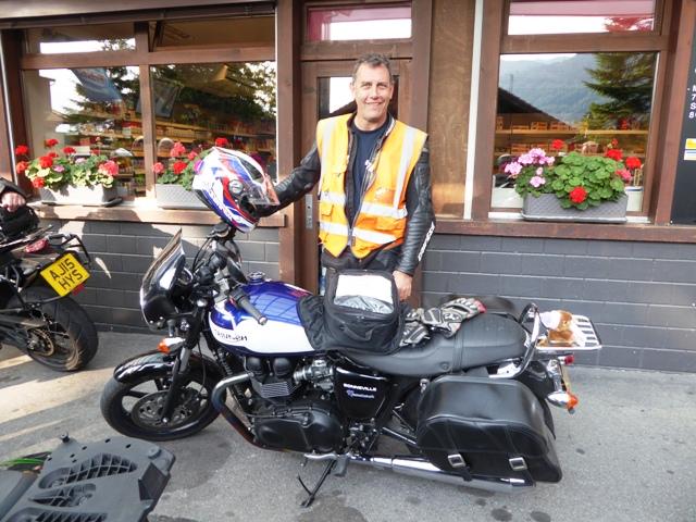 John rides Sue's Bonneville