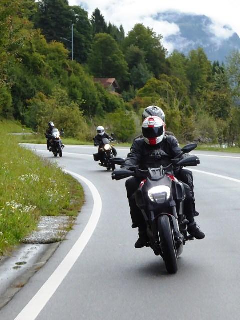 Martin & Ali on their Ducati Diavel