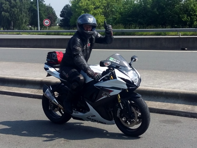 Nick on his GSXR 750