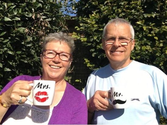 Enjoying a mug of tea back at home!