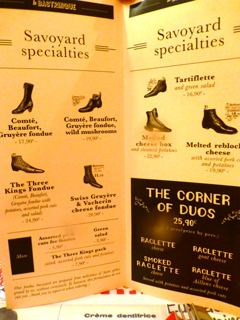 Menu with local specialties - in shoes?