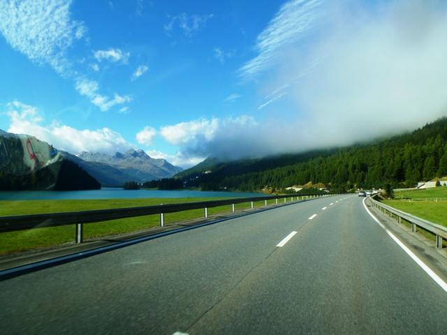 Dry roads as we pass St Moritz
