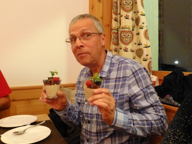 Ken manages to scrounge two desserts!